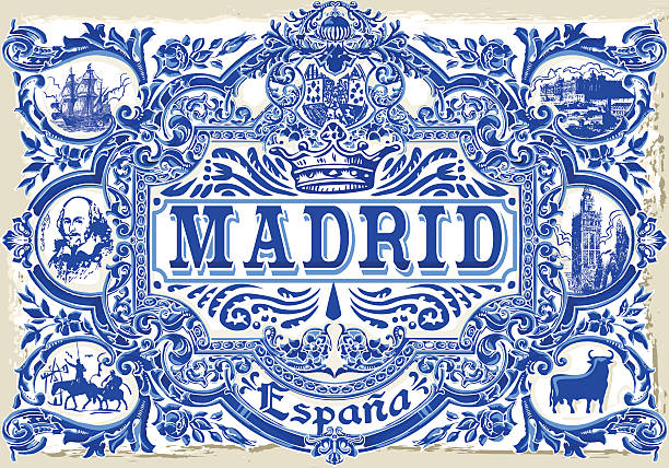 Madrid Azulejos 01 Vintage 2D vector art illustration