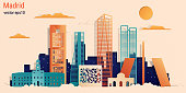 Madrid city colorful paper cut style, vector stock illustration. Cityscape with all famous buildings. Skyline Madrid city composition for design