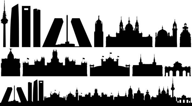Madrid Skyline Silhouette (All Buildings Are Complete and Moveable) vector art illustration
