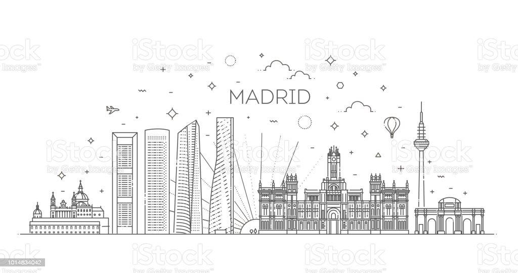 Skyline von Madrid, Spanien – Vektorgrafik