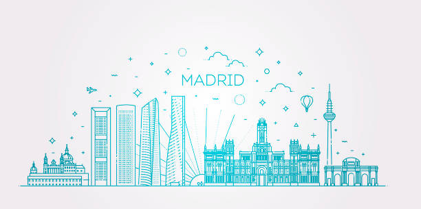 Skyline von Madrid, Spanien. Vektor-Illustration, Strichzeichnungen – Vektorgrafik