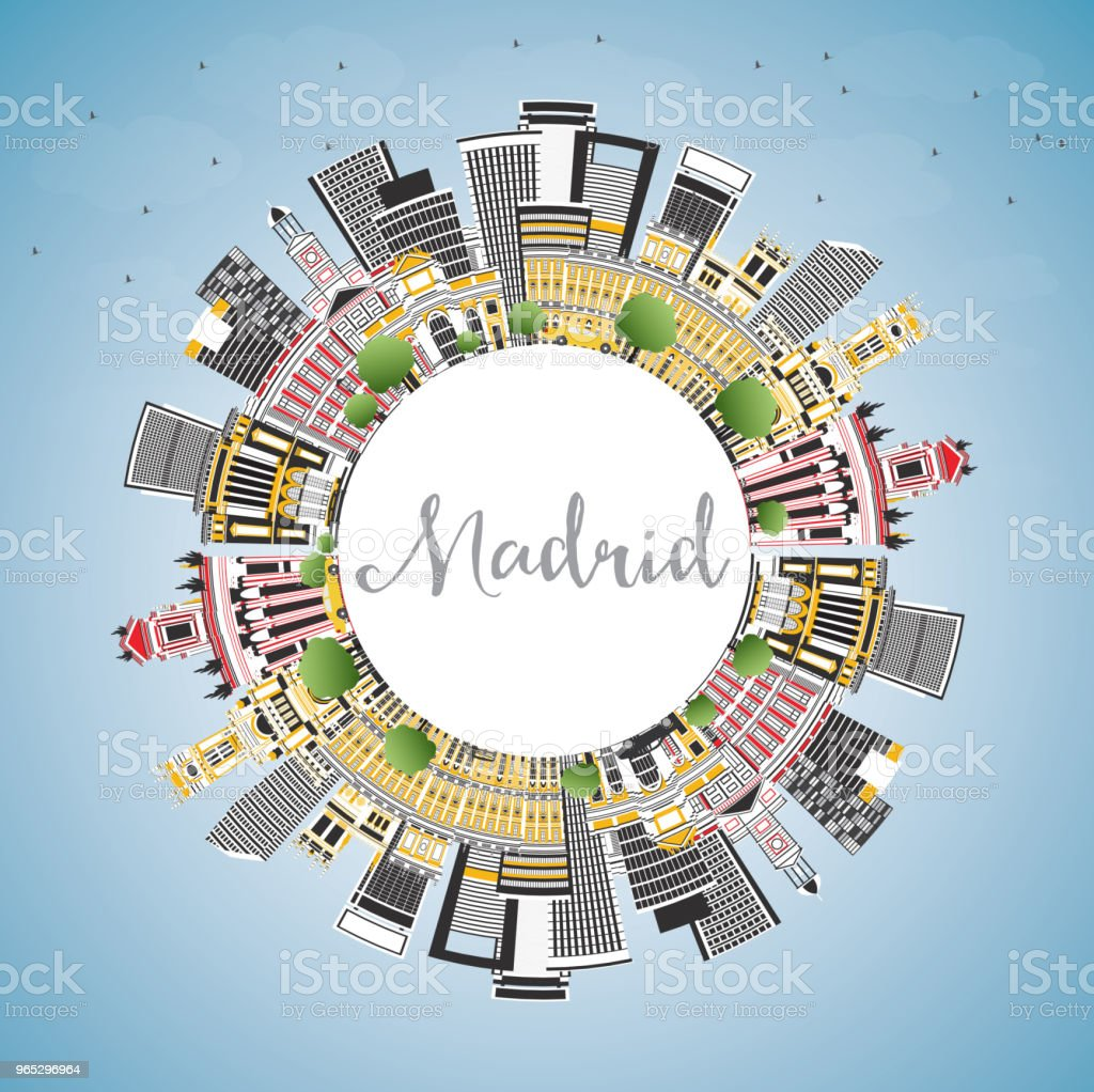 Madrid Spain City Skyline with Gray Buildings, Blue Sky and Copy Space. royalty-free madrid spain city skyline with gray buildings blue sky and copy space stock vector art & more images of architecture