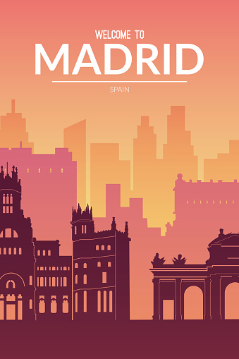 Madrid, Spain famous cityscape view background.