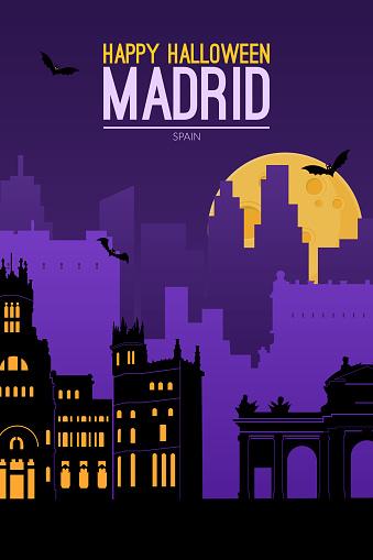 Madrid, Spain. Halloween holiday background.