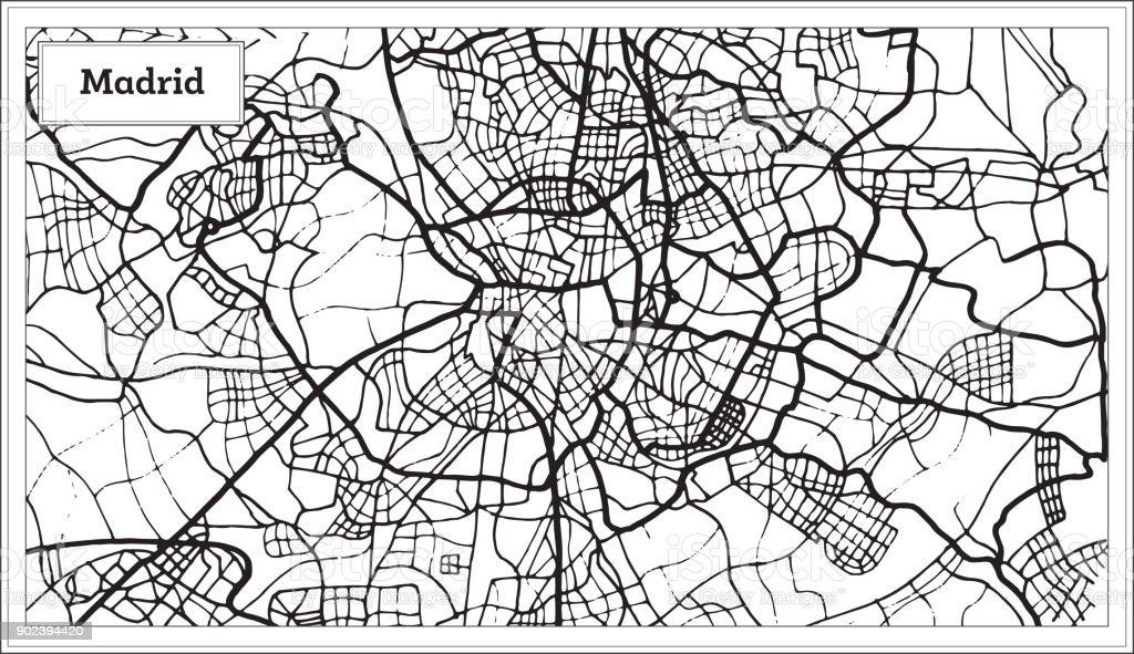 Spanien Karte Schwarz Weiß.Madrid Spanien Karte In Der Farbe Schwarz Und Weiß Stock Vektor Art