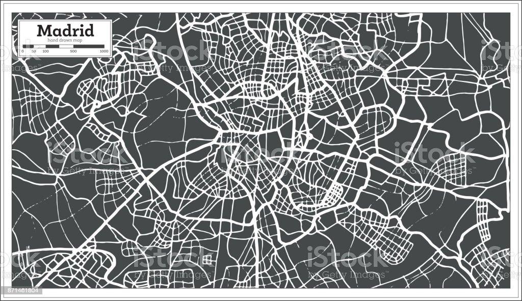Carte Espagne Hd.Madrid Espagne Carte Dans Un Style Retro Vecteurs Libres De Droits