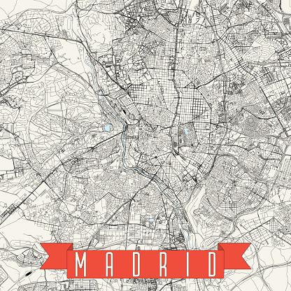 Madrid, Spain Vector Map