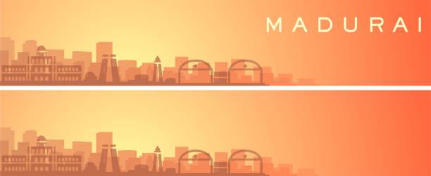 madurai schöne skyline landschaft banner - madurai stock-grafiken, -clipart, -cartoons und -symbole