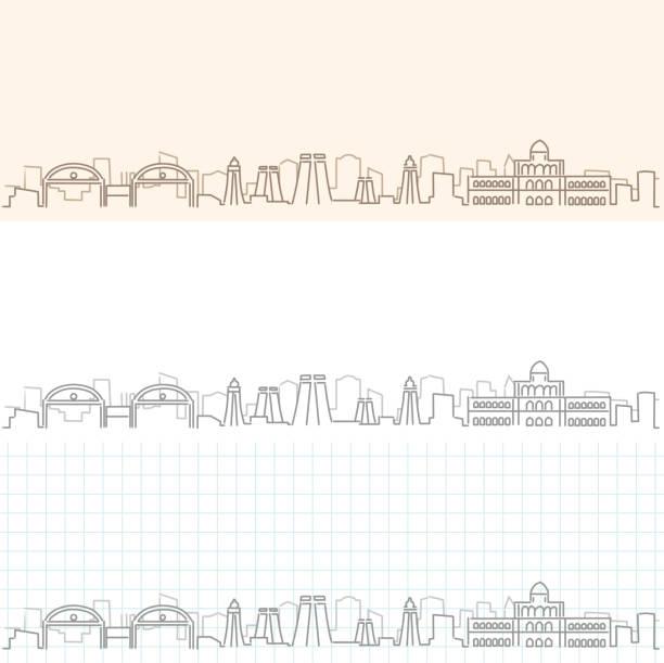 madurai hand zieht skyline - madurai stock-grafiken, -clipart, -cartoons und -symbole