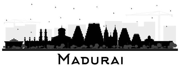 madurai india city skyline silhouette mit black buildings isolation auf weiß. - madurai stock-grafiken, -clipart, -cartoons und -symbole