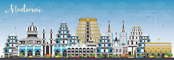 madurai india city skyline mit farbengebäuden und blauem himmel. - madurai stock-grafiken, -clipart, -cartoons und -symbole