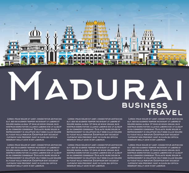 madurai india city skyline mit farbengebäuden, blue sky und copy space. - madurai stock-grafiken, -clipart, -cartoons und -symbole