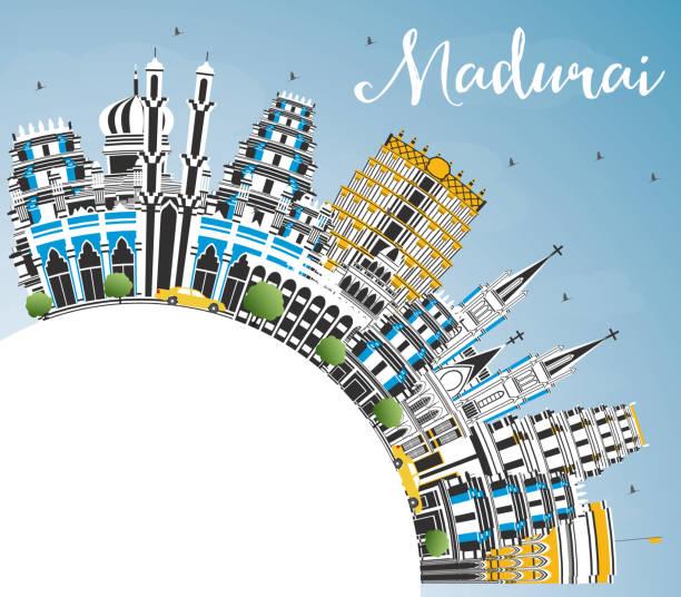 madurai india city skyline mit farbgebäuden, blauem himmel und kopierraum. - madurai stock-grafiken, -clipart, -cartoons und -symbole