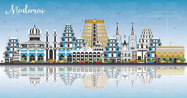 madurai india city skyline mit farbengebäuden, blauem himmel und reflexionen. - madurai stock-grafiken, -clipart, -cartoons und -symbole