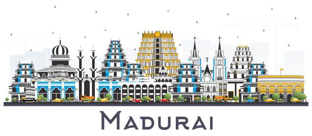 madurai india city skyline mit farbengebäuden auf weiß isoliert. - madurai stock-grafiken, -clipart, -cartoons und -symbole