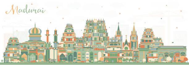 madurai india city skyline mit farbengebäuden. - madurai stock-grafiken, -clipart, -cartoons und -symbole