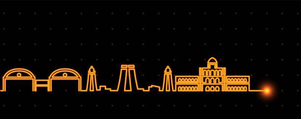 madurai leichte streifen skyline - madurai stock-grafiken, -clipart, -cartoons und -symbole