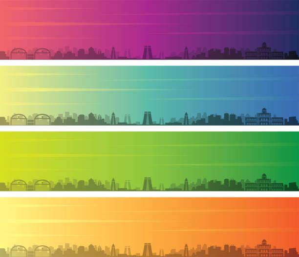 madurai mehrere farbe farbverlauf skyline banner - madurai stock-grafiken, -clipart, -cartoons und -symbole