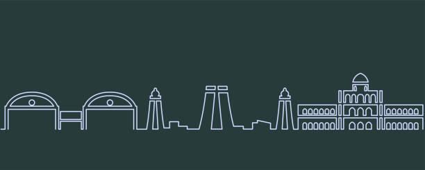 madurai einzeilige skyline - madurai stock-grafiken, -clipart, -cartoons und -symbole