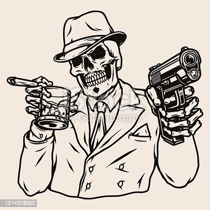istock Mafia boss skeleton in suit 1314528002