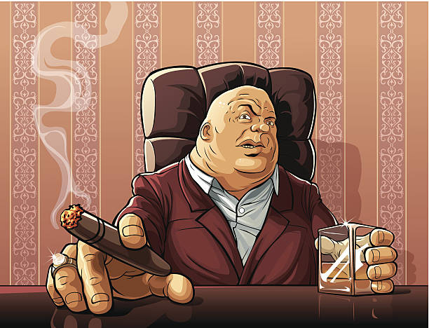 stockillustraties, clipart, cartoons en iconen met mafia boss - guy with cigar