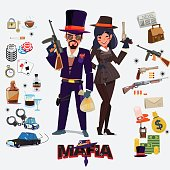 Mafia character design, male and female with icon set. underground gangster concept - vector illustration