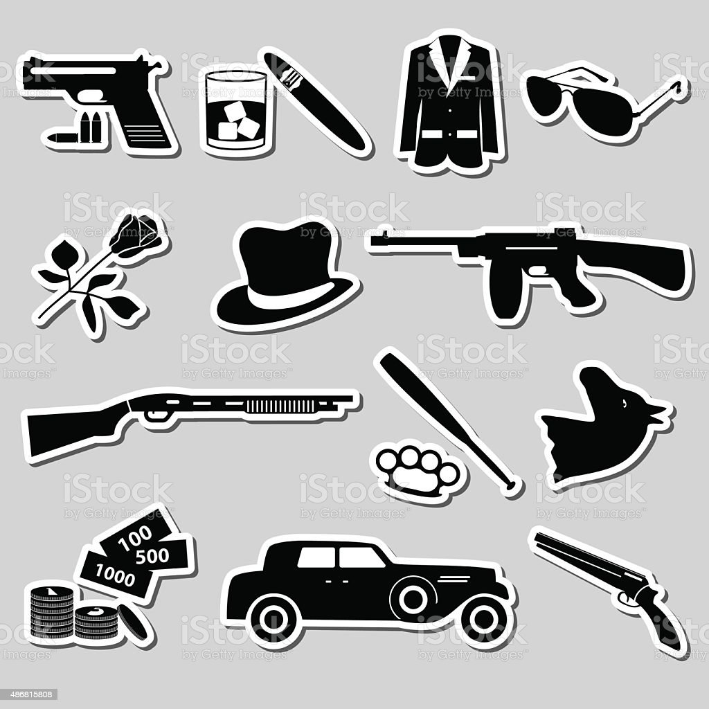 mafia criminal black symbols and stickers set eps10 vector art illustration
