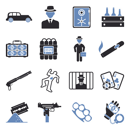 Mafia Icons. Two Tone Flat Design. Vector Illustration.
