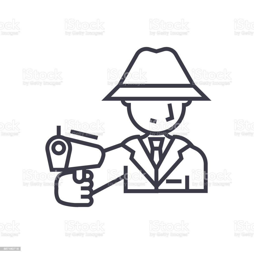Mafia man with gun concept vector thin line icon symbol sign mafia man with gun concept vector thin line icon symbol sign illustration buycottarizona