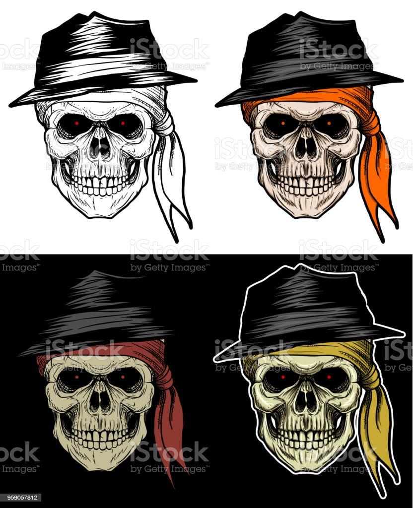 Ilustración de Mafia Cabeza De Calavera Con Sombrero Y Pañuelo ...
