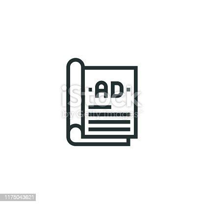 Magazine Ads Line Icon