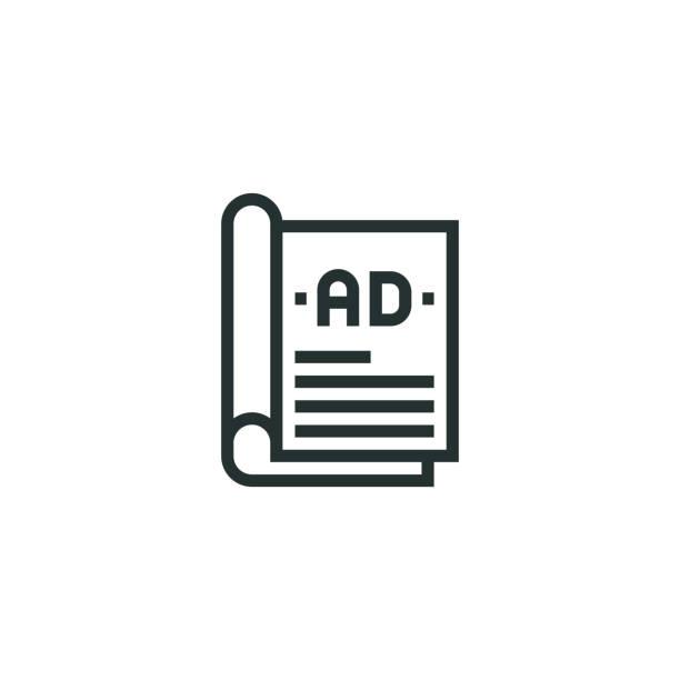 dergi reklamları satır simgesi - sokmak stock illustrations
