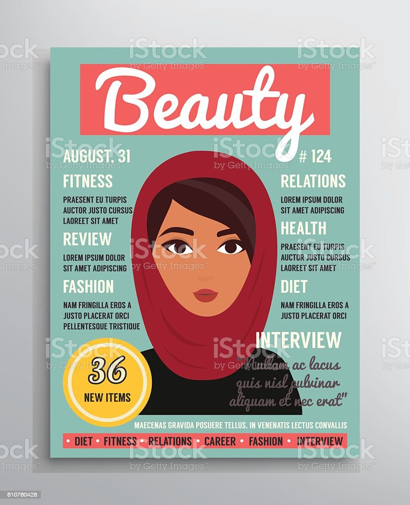 magazine cover template about beauty fashion and health for arab