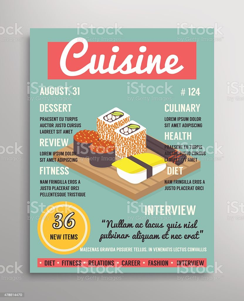 Magazine Cover Vorlage Food Blogging Lage Küche Vektorillustration ...