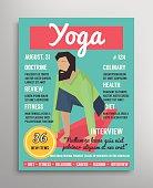 Magazine cover template. Yoga blogging layer, health sport vector illustration