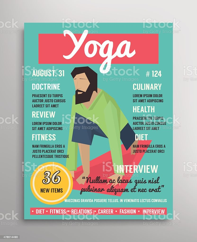 Magazine cover template. Yoga blogging layer, health sport vector illustration vector art illustration