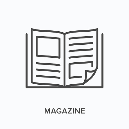 Magazine flat line icon. Vector outline illustration of news brochure, catalog page. Latest press thin linear pictogram.