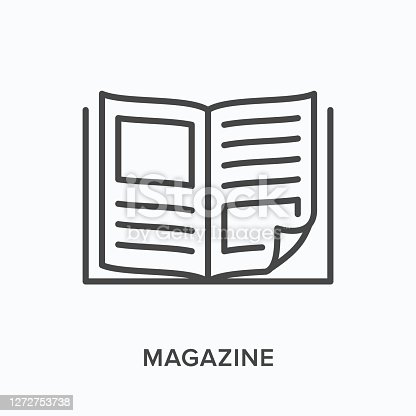 istock Magazine flat line icon. Vector outline illustration of news brochure, catalog page. Latest press thin linear pictogram 1272753738