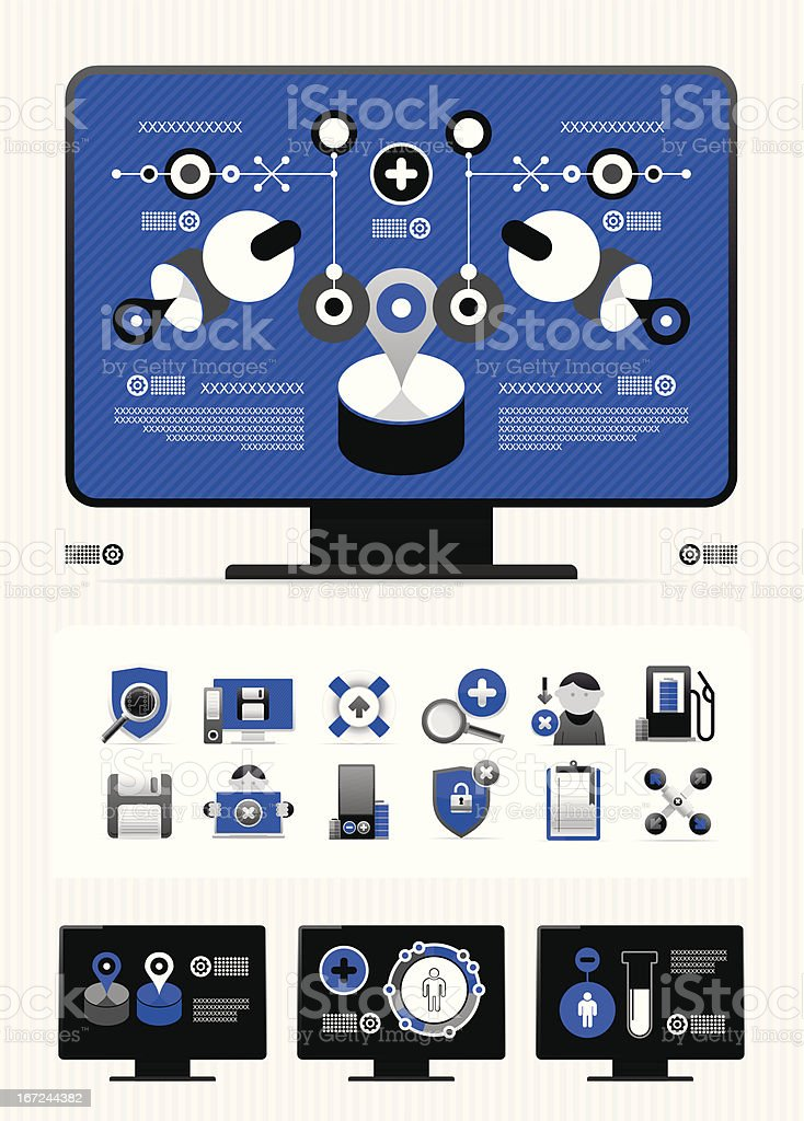 magazine infographics and icons royalty-free stock vector art