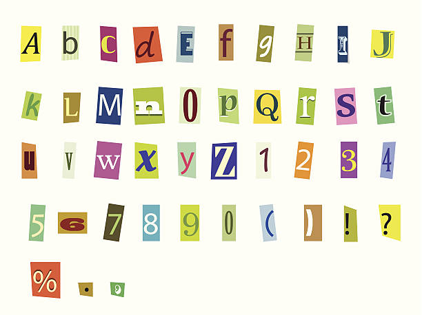 Magazine letters Newspaper magazine alphabet with letters and numbers bribing stock illustrations