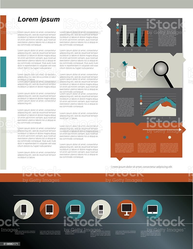 Magazine page text layout template. vector art illustration