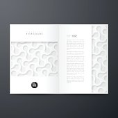 Magazine template with an abstract background, white pattern.