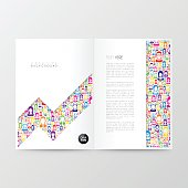 Magazine template with color people on white background.