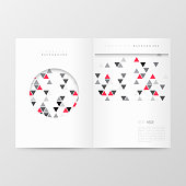 Magazine template with an abstract geometric background. Modern background with gray and red triangles.