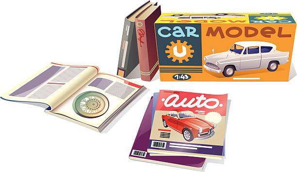 stockillustraties, clipart, cartoons en iconen met magazines, books and the car model - magazine