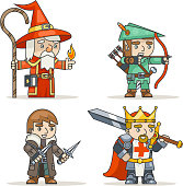 Mage warlock archer sharpshooter warrior king thief fantasy medieval action RPG game character isolated icon vector illustration