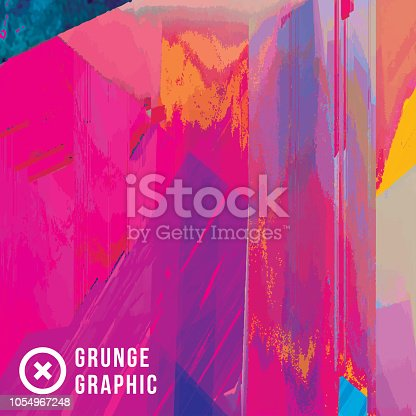 istock Magenta And Yellow Digital Glitch Abstract Grunge Background 1054967248