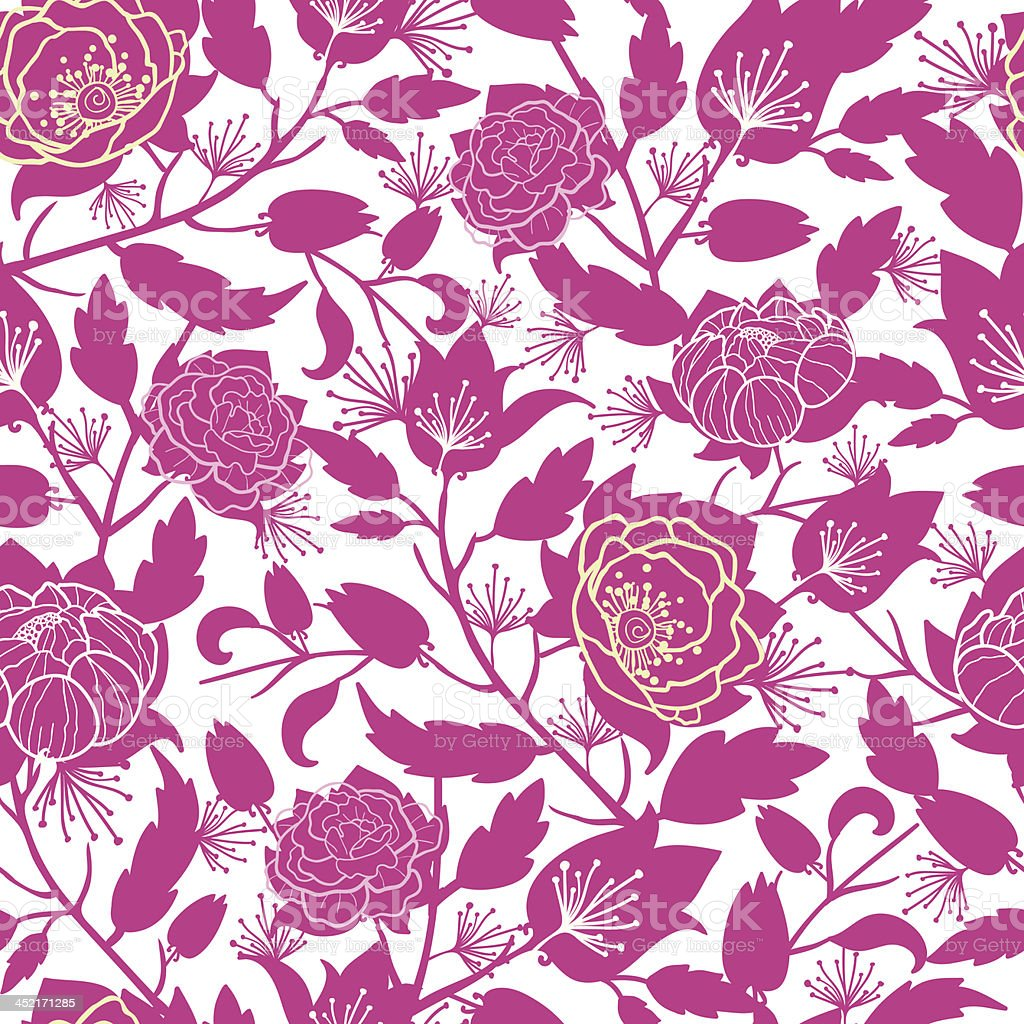 Magenta floral silhouettes seamless pattern background royalty-free stock vector art