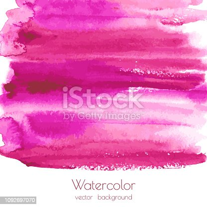 Magenta, pink, rose marble watercolor vector texture background with dry brush stains, strokes, spots isolated on white. Abstract frame, place for text or logo. Acrylic hand painted gradient backdrop.