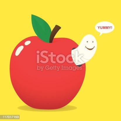 maggot and apple - vector - zip: jpg (7600x7600)
